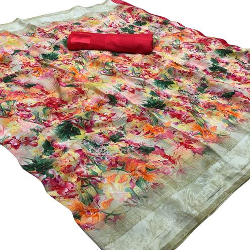 Lovely Red Colored Casual Wear Floral Printed Linen Saree