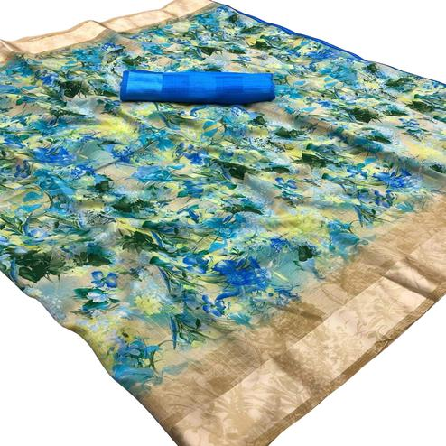 Majesty Blue Colored Casual Wear Floral Printed Linen Saree