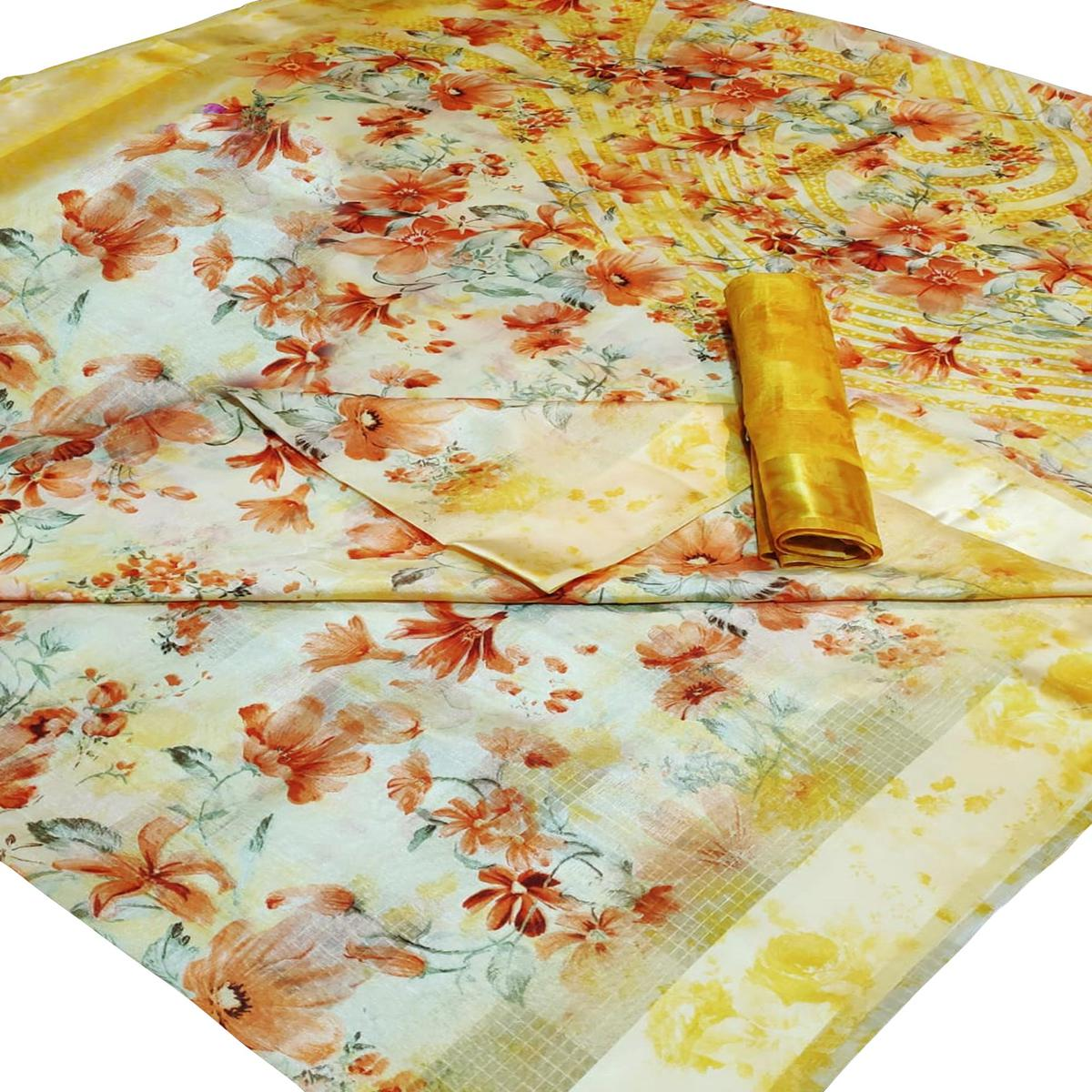 Mesmerising Yellow-Orange Colored Casual Wear Floral Printed Linen Saree