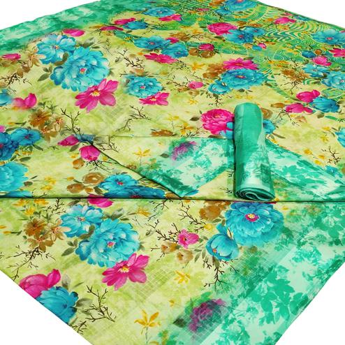 Breathtaking Green-Blue Colored Casual Wear Floral Printed Linen Saree