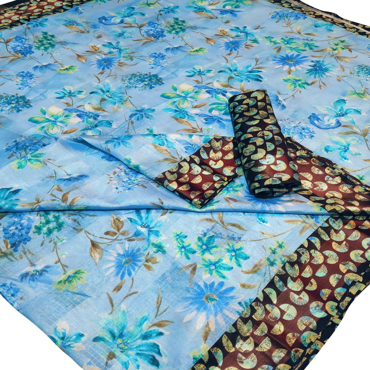 Ethnic Light Blue Colored Casual Wear Floral Printed Linen Saree
