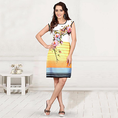 White - Yellow Floral Design Crepe Kurti
