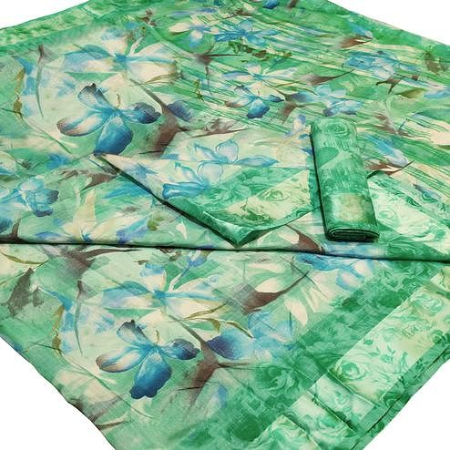 Staring Green Colored Casual Wear Floral Printed Linen Saree