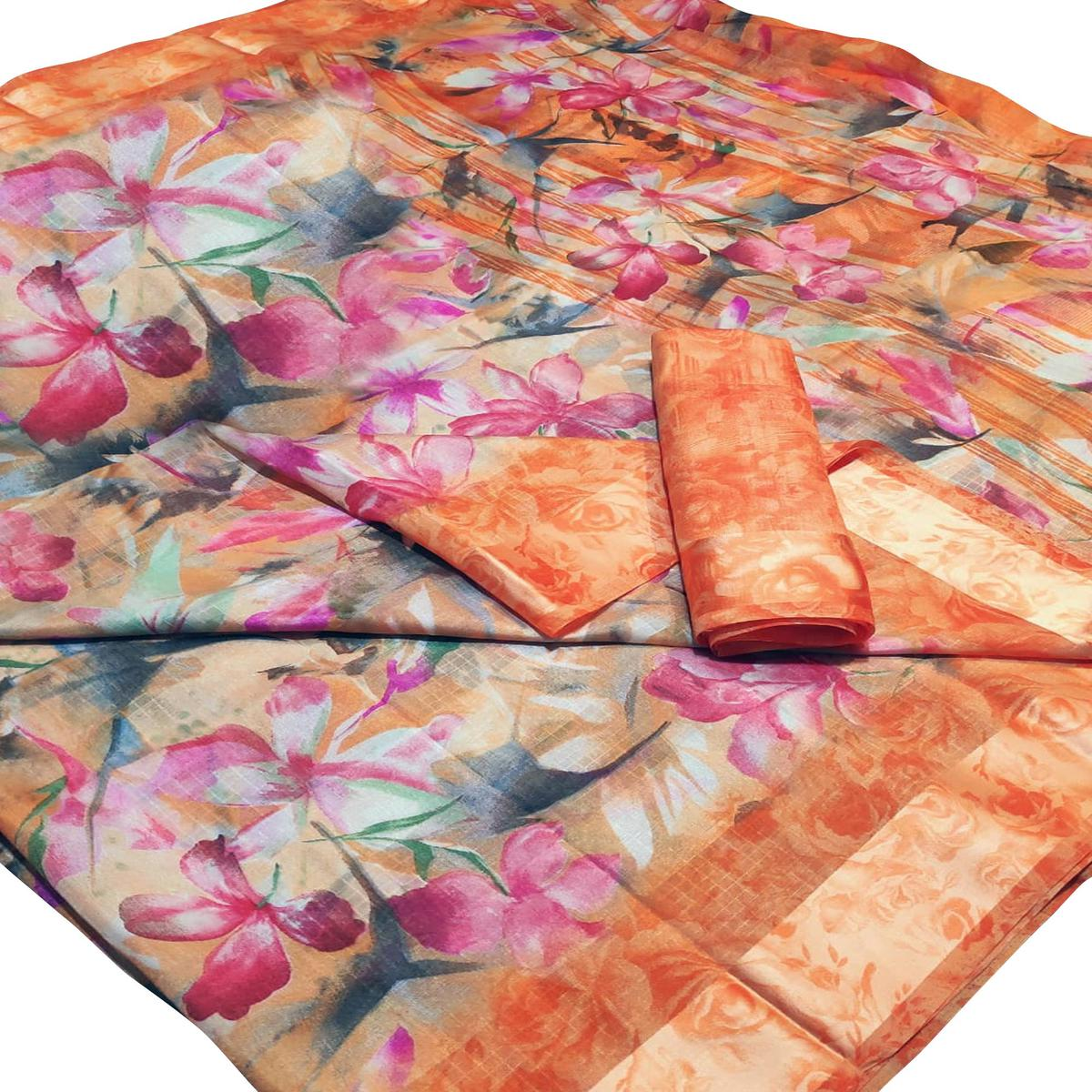 Dazzling Orange-Pink Colored Casual Wear Floral Printed Linen Saree