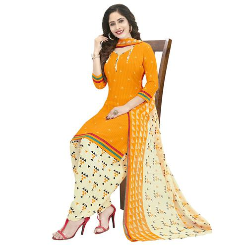 Adorable Mustad Yellow Colored Casual Wear Printed Crepe Patiala Dress Material