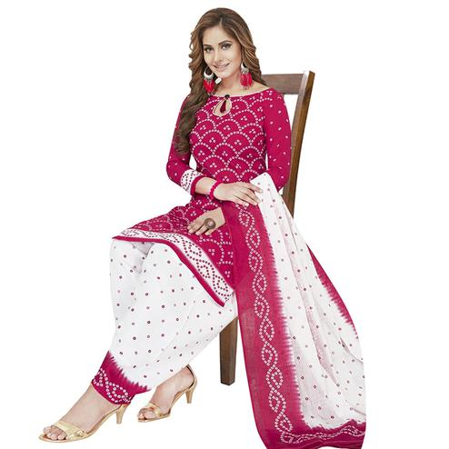 Glorious Magenta Pink Colored Casual Wear Printed Crepe Patiala Dress Material