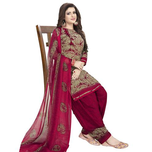 Attractive Brown-Maroon Colored Casual Wear Printed Crepe Patiala Dress Material