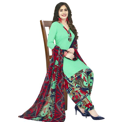 Beautiful Parrot Green Colored Casual Wear Printed Crepe Patiala Dress Material