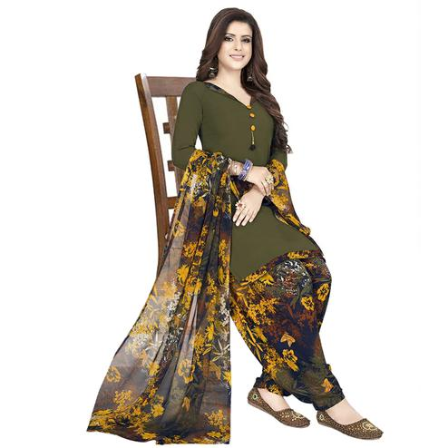 Graceful Dark Olive Green Colored Casual Wear Printed Crepe Patiala Dress Material