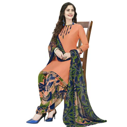 Blooming Peach Colored Casual Wear Printed Crepe Patiala Dress Material