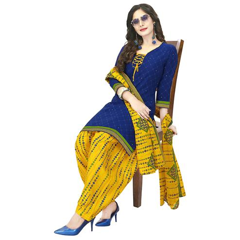 Charming Blue Colored Casual Wear Printed Crepe Patiala Dress Material