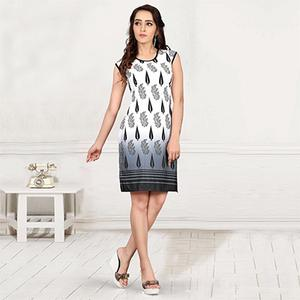 White - Grey Printed Casual Kurti