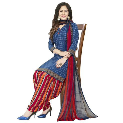 Delightful Blue Colored Casual Wear Printed Crepe Patiala Dress Material