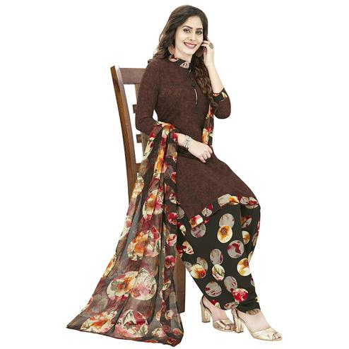 Engrossing Brown Colored Casual Wear Printed Crepe Patiala Dress Material