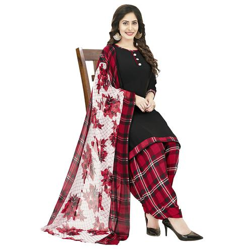 Captivating Black Colored Casual Wear Printed Crepe Patiala Dress Material