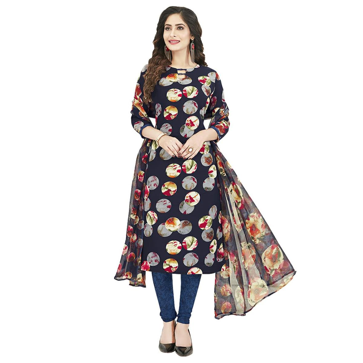 Innovative Navy Blue Colored Casual Wear Printed Crepe Dress Material