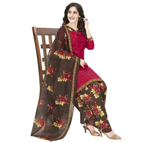 Amazing Red Colored Casual Wear Printed Crepe Patiala Dress Material