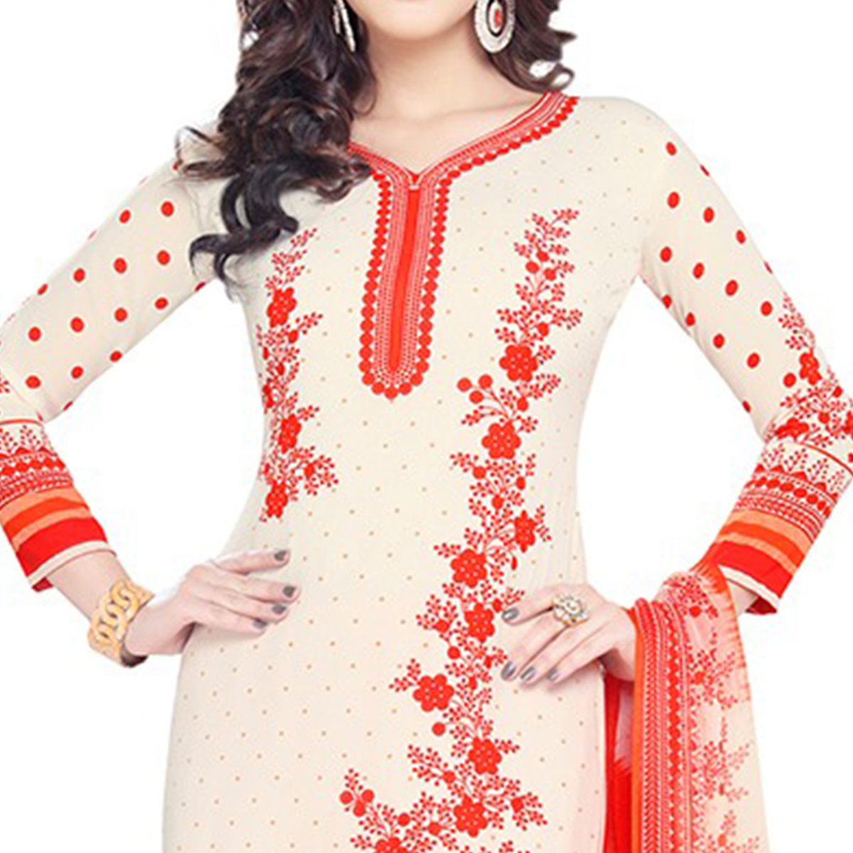 Blissful Cream Colored Casual Wear Printed Crepe Dress Material