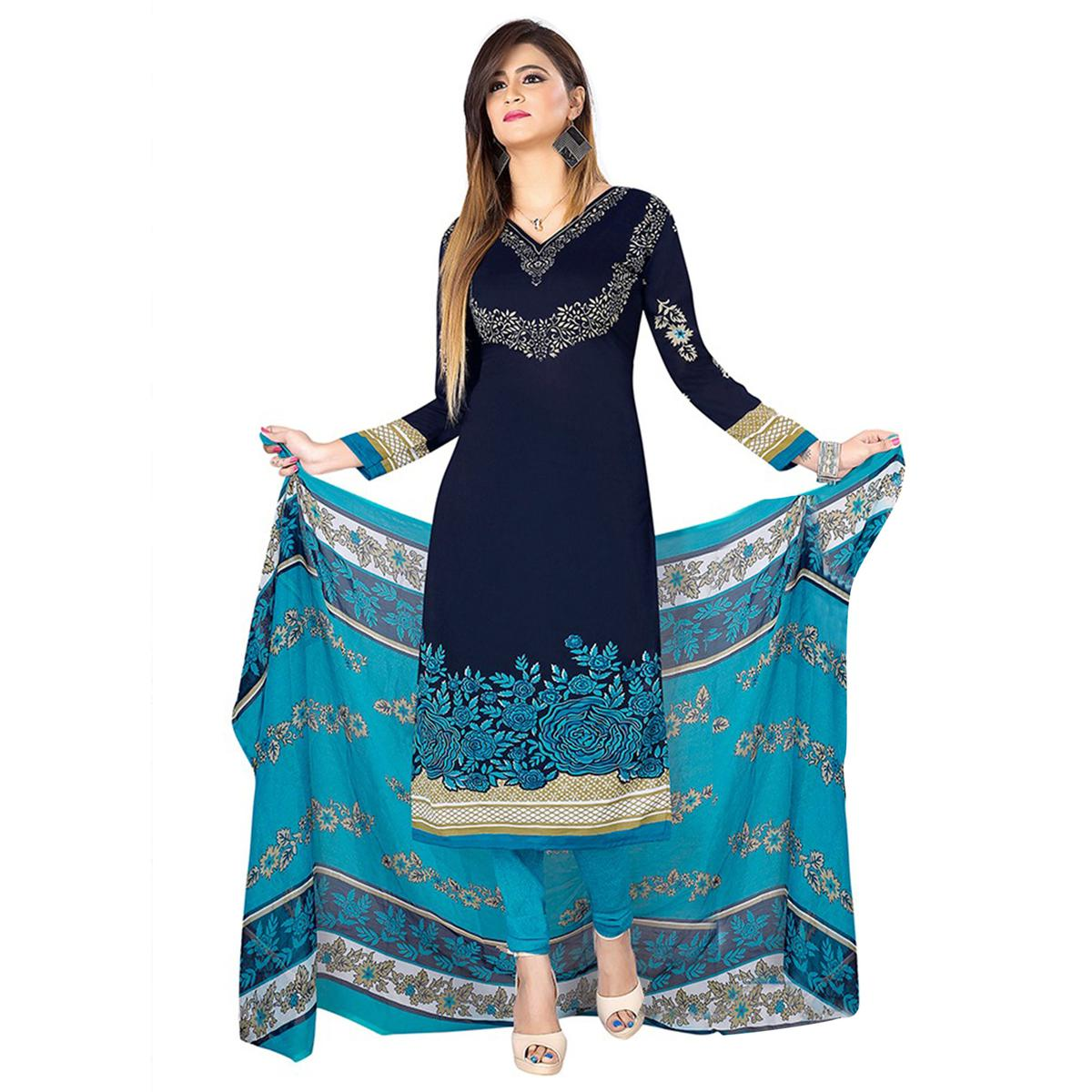 Ideal Navy Blue Colored Casual Wear Printed Crepe Dress Material