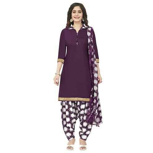 Imposing Wine Colored Casual Wear Printed Crepe Patiala Dress Material