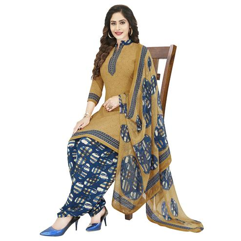 Lovely Beige Colored Casual Wear Printed Crepe Patiala Dress Material
