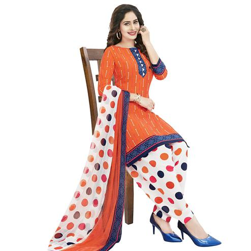 Majesty Coral Red Colored Casual Wear Printed Crepe Patiala Dress Material