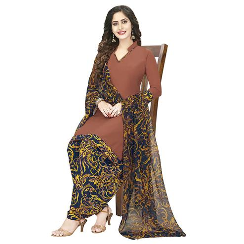 Impressive Brown Colored Casual Wear Printed Crepe Patiala Dress Material
