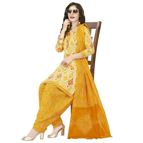 Preferable Yellow Colored Casual Wear Printed Crepe Patiala Dress Material