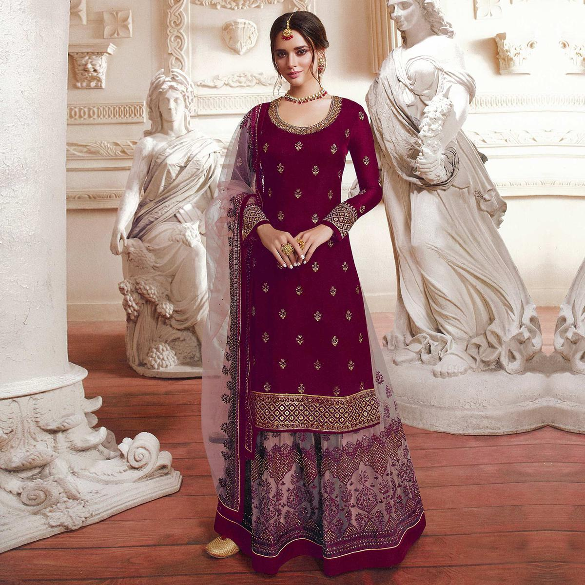 Prominent Purple Colored Party Wear Embroidered Satin Georgette Palazzo Suit