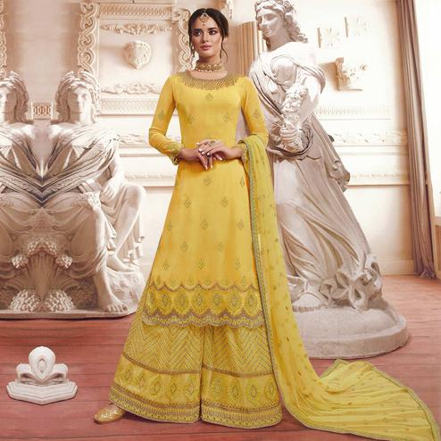 Entrancing Yellow Colored Party Wear Embroidered Georgette Palazzo Suit