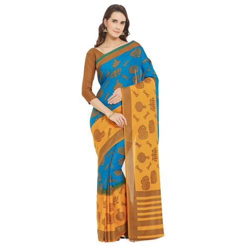 Attractive Blue-Yellow Colored Casual Wear Printed Crepe-Georgette Saree