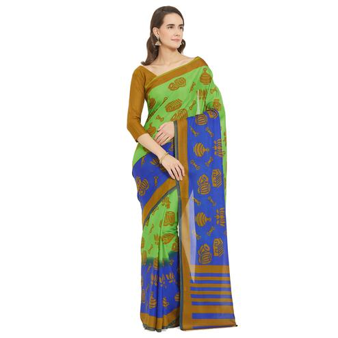 Beautiful Parrot Green-Blue Colored Casual Wear Printed Crepe-Georgette Saree