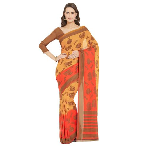 Graceful Yellow-Orange Colored Casual Wear Printed Crepe-Georgette Saree