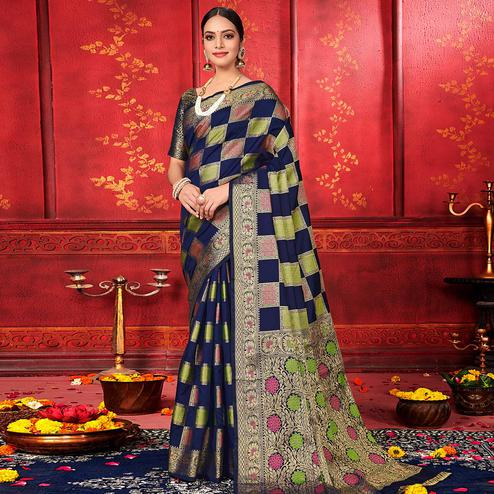 Delightful Navy Blue Colored Festive Wear Woven Work Banarasi Silk Saree