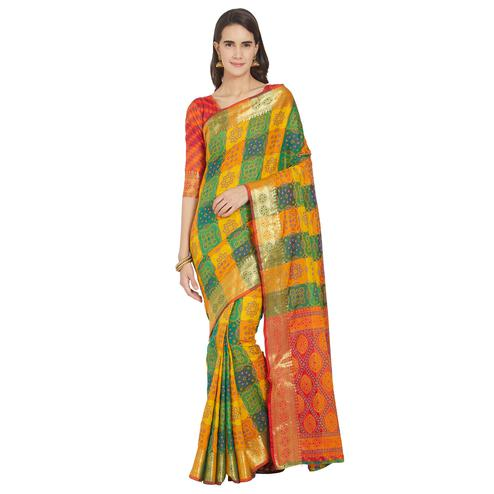 Amazing Yellow-Green Colored Festive Wear Woven Work Banarasi Silk Saree