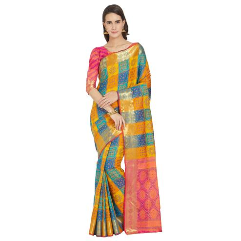 Gorgeous Yellow-Blue Colored Festive Wear Woven Work Banarasi Silk Saree