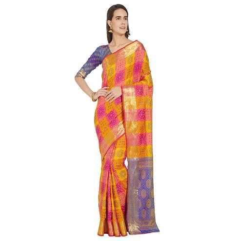 Blissful Yellow-Pink Colored Festive Wear Woven Work Banarasi Silk Saree