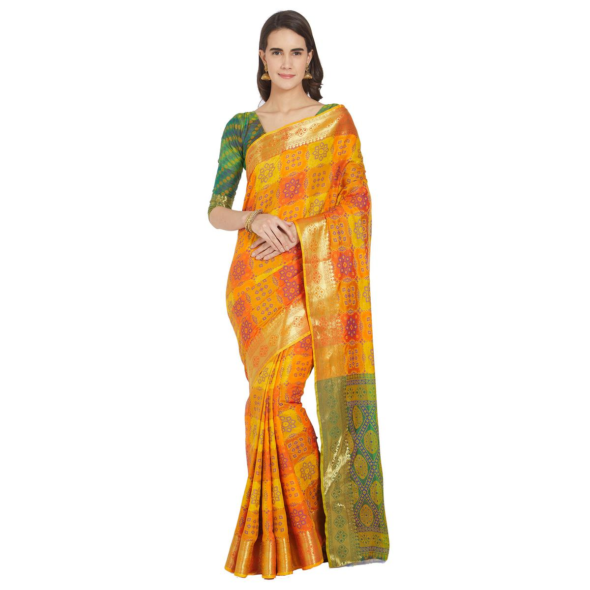 Ideal Yellow-Orange Colored Festive Wear Woven Work Banarasi Silk Saree