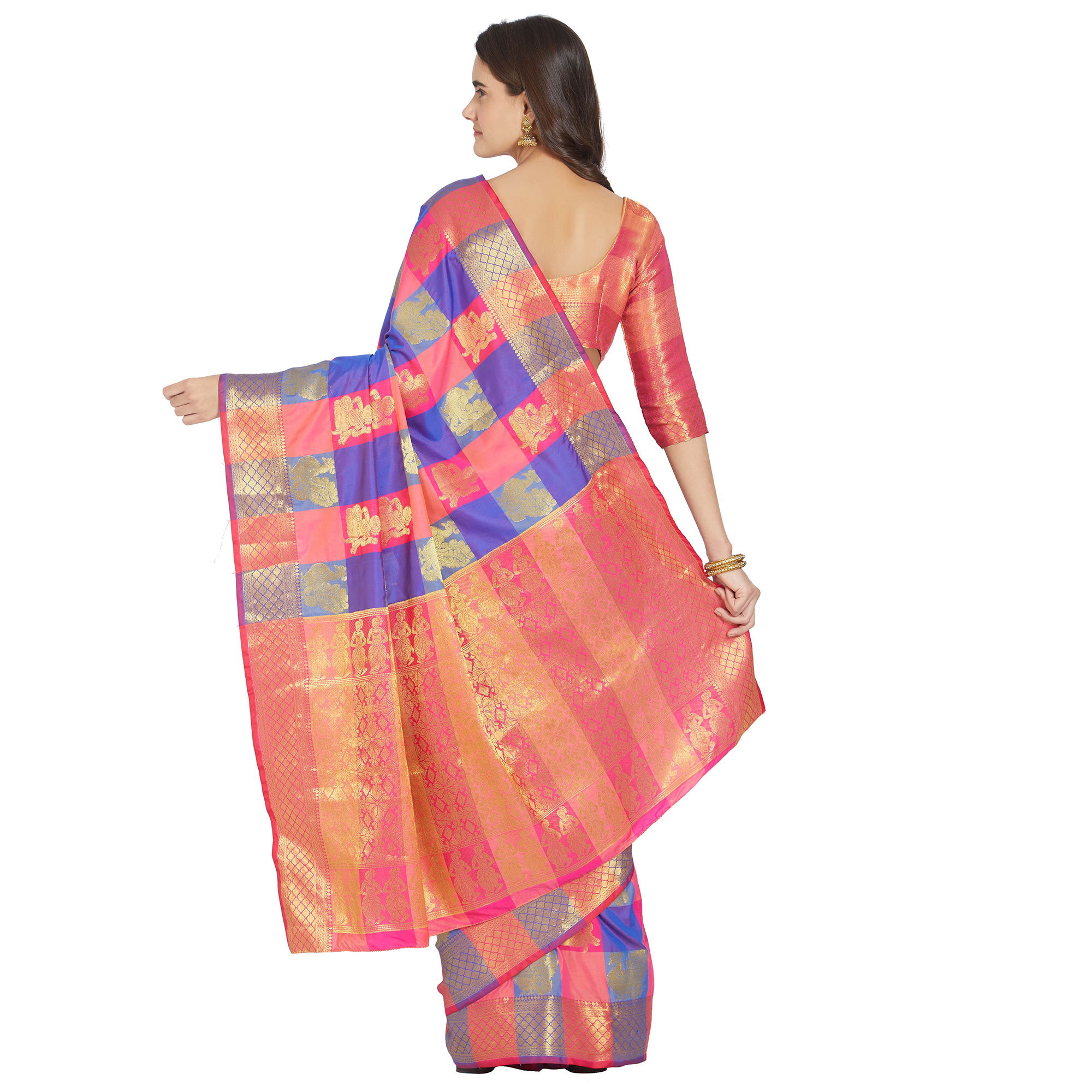 Lovely Pink-Blue Colored Festive Wear Woven Work Kanjivaram Silk Saree