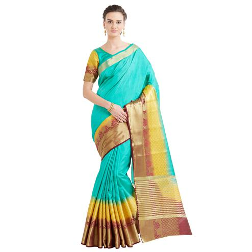 Ravishing Green-Yellow Colored Festive Wear Woven Work Banarasi Silk Saree