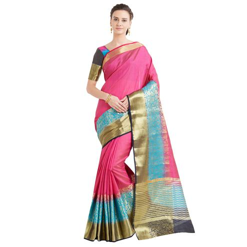 Staring Dark Pink-Blue Colored Festive Wear Woven Work Banarasi Silk Saree