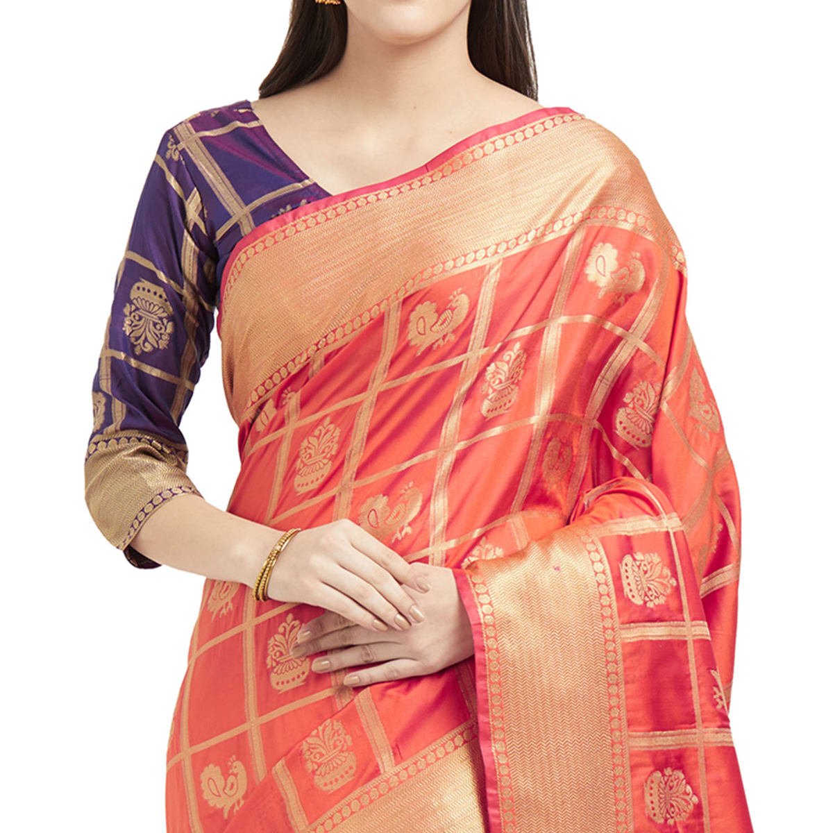 Glowing Orange Colored Festive Wear Woven Work Patola Silk Saree