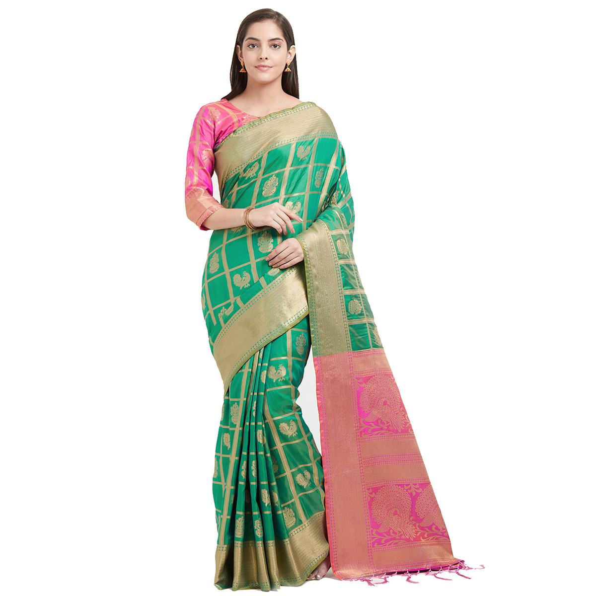 Exceptional Green Colored Festive Wear Woven Work Patola Silk Saree