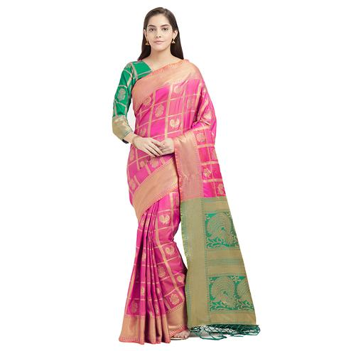 Gleaming Pink-Green Colored Festive Wear Woven Work Patola Silk Saree