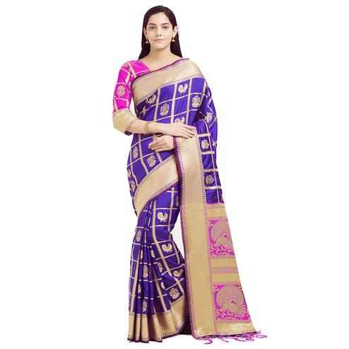 Mesmeric Purple Colored Festive Wear Woven Work Patola Silk Saree