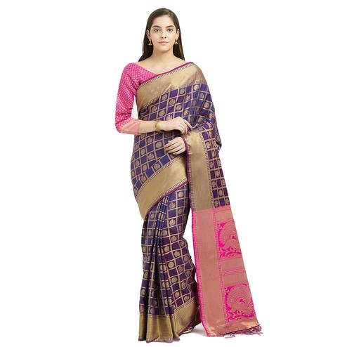 Unique Dark Purple Colored Festive Wear Woven Work Patola Silk Saree