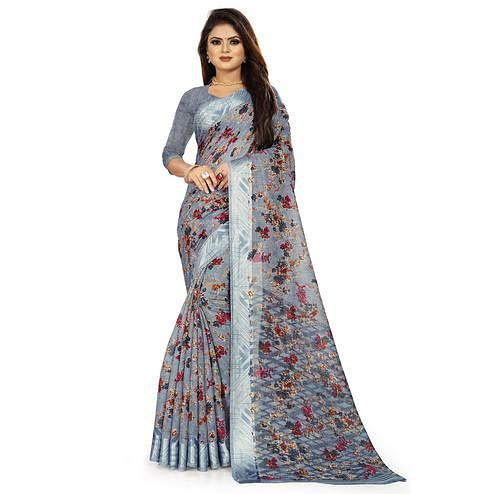 Prominent Grey Colored Casual Wear Floral Printed Linen Saree With Satin Patta Border
