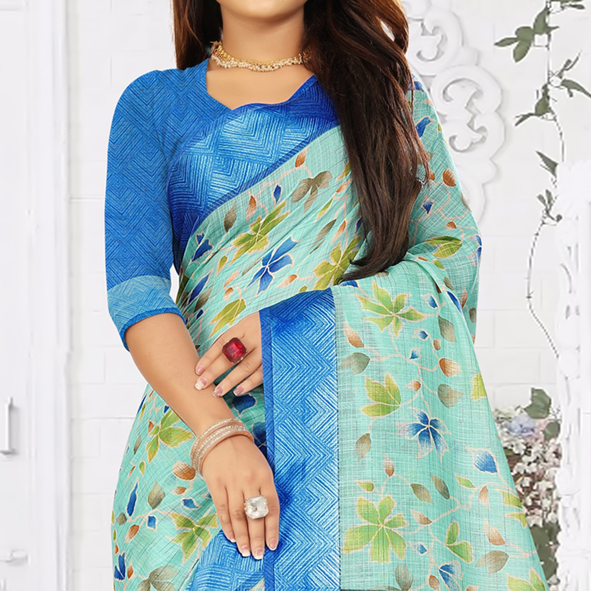 Excellent Sky Blue Colored Casual Wear Floral Printed Linen Saree With Satin Patta Border