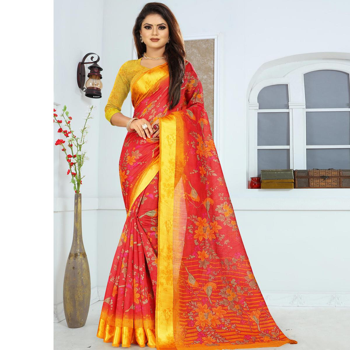 Marvellous Red Colored Casual Wear Floral Printed Linen Saree With Satin Patta Border