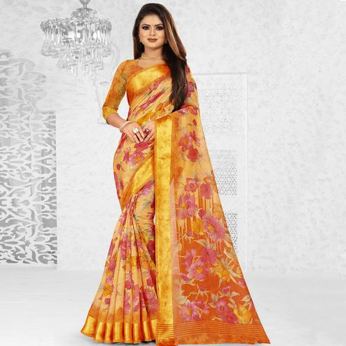 Pretty Beige Colored Casual Wear Floral Printed Linen Saree With Satin Patta Border